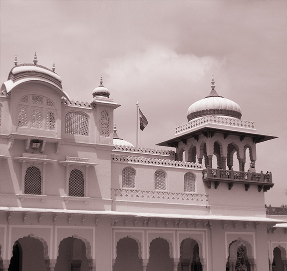 in quiet contemplation at the rambah palace jaipur