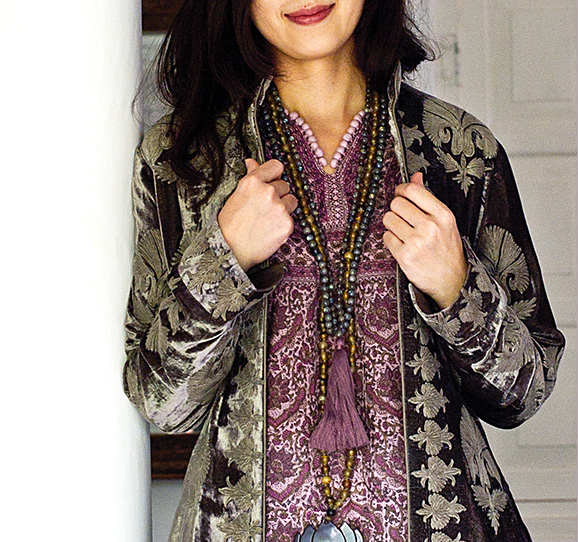 paired with a silk velvet long coat, embroidered in an ancient ottoman design